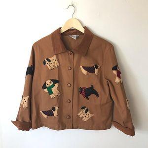 """Vintage """"Cold Weather Dogs"""" Felt Appliqued Coat"""
